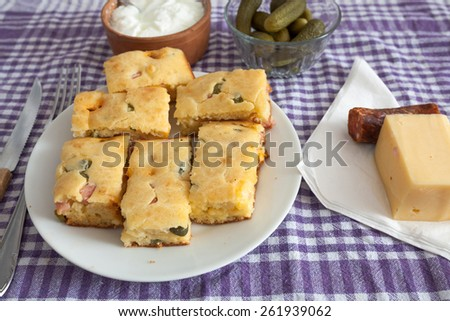 Homemade Pie with vegetables and sausage - stock photo