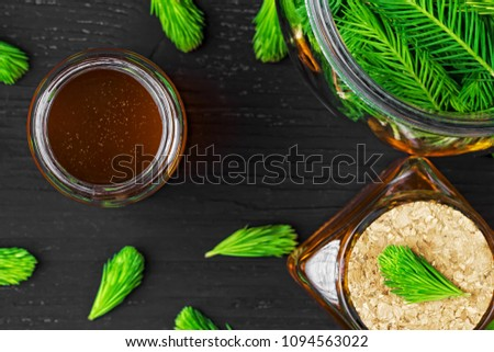 stock-photo-homemade-pine-cough-syrup-fo