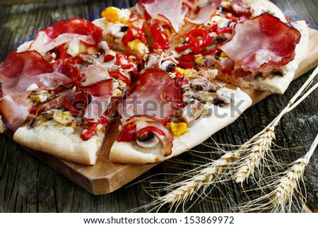 Homemade pizza baked in wood oven  - stock photo