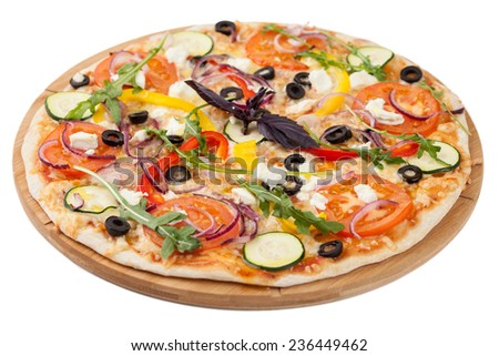 Homemade pizza on white background isolated - stock photo