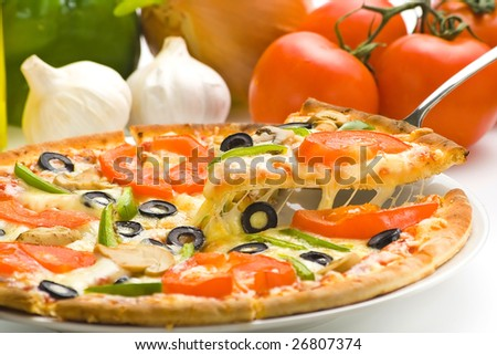homemade pizza with fresh tomato olive mushroom cheese isolated - stock photo