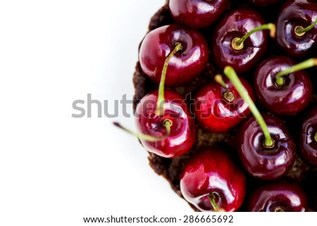 Homemade Raw Vegan Cherry Tart, macro shot, selective focus, shallow DOF - stock photo