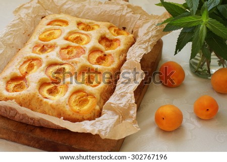 Homemade rustic style apricot cake - stock photo