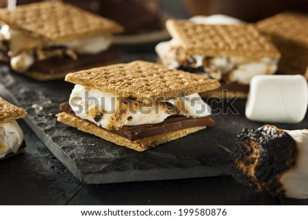 Homemade S'mores with Marshmallows Chocolate and Graham Crackers