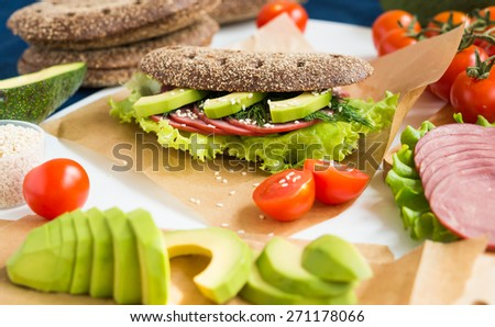Homemade Sandwich with Beef Ham, Lettuce and Avocado