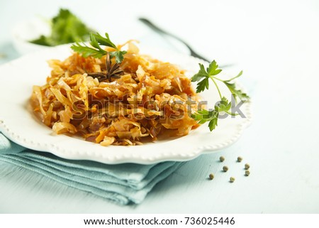 Homemade sauerkraut stew with spices