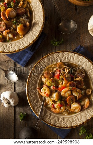 Homemade Shrimp and Sausage Cajun Gumbo Over Rice - stock photo