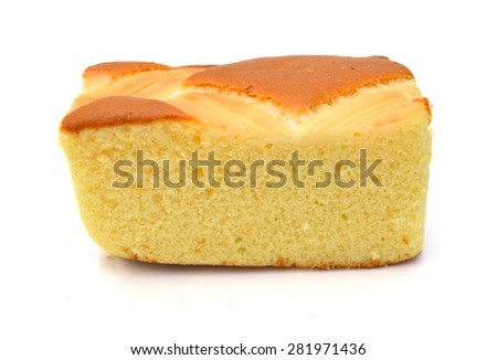 homemade sponge cake on white