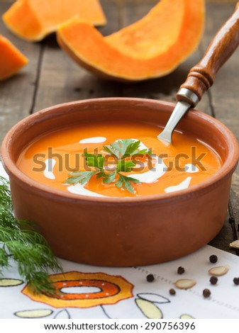 Homemade Squash soup with cream - stock photo