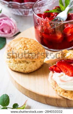 Homemade strawberry shortcake with berry compote - stock photo