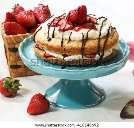 Homemade Strawberry Shortcake with fresh strawberries whipped frosting and chocolate drizzle on beautiful cake stand against white background - stock photo