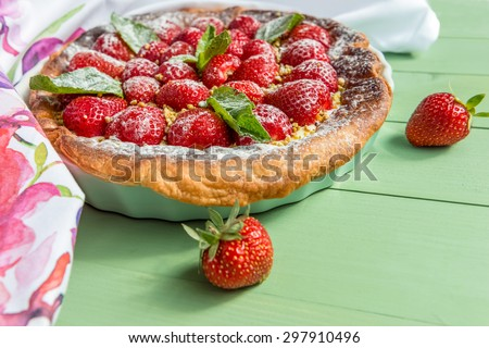 Homemade strawberry tart. Direct view