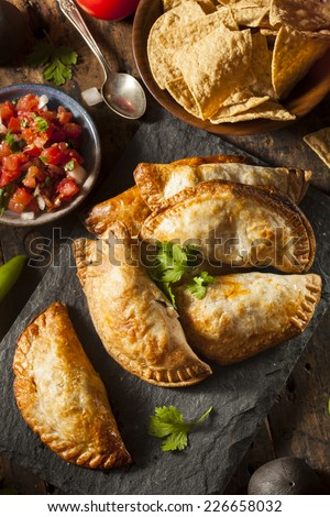 Homemade Stuffed Chicken Empanadas on a Background - stock photo