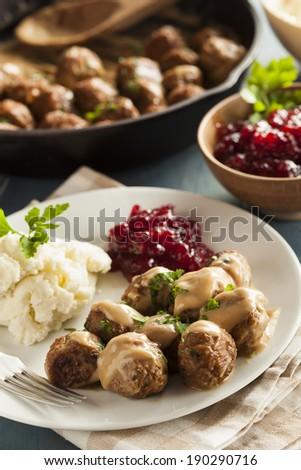 Homemade Swedish Meatballs with Cream Sauce and Parsley - stock photo