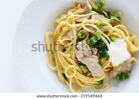 Homemade sweet pepper and pork linguine with Mascarpone cheese - stock photo