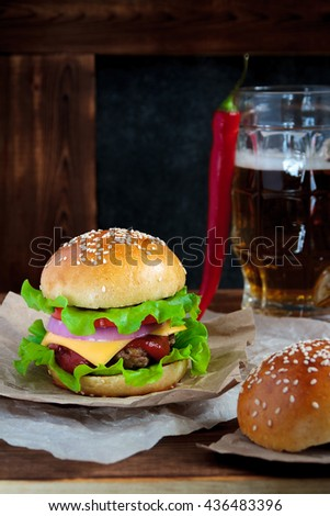 Tasty Beef Burger Lettuce Ketchup Tomato Stock Photo ...