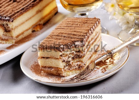 homemade tiramisu, a traditional Italian dessert - stock photo
