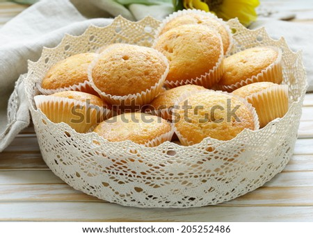 homemade vanilla muffins in a basket of lace napkins - stock photo