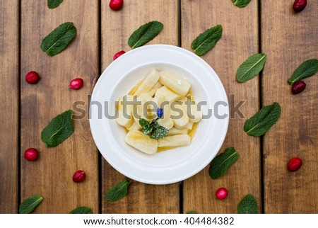 Homemade vareniki top view - stock photo