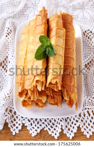 Homemade waffle rolls, top view - stock photo