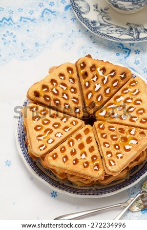 Homemade waffles with salted caramel