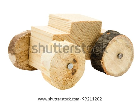 Homemade wooden car toy isolated on white background - stock photo