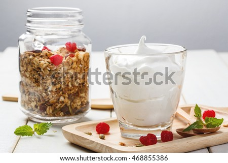 Homemade yogurt with granola, dried fruit and nuts bio - most healthy seed.