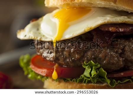 Homemmade Bacon Hamburger with Egg Lettuce and Tomato - stock photo