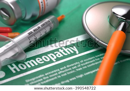 Homeopathy - Medical Concept on Green Background with Blurred Text and Composition of Pills, Syringe and Stethoscope. 3D Render. - stock photo