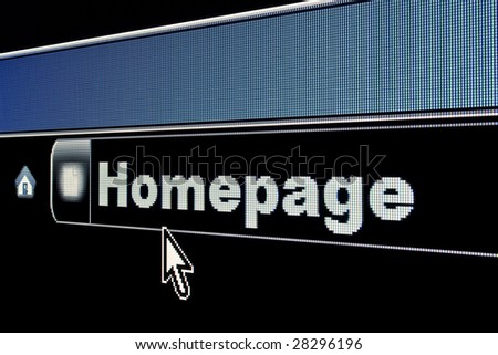 Homepage concept on an internet browser URL address - stock photo