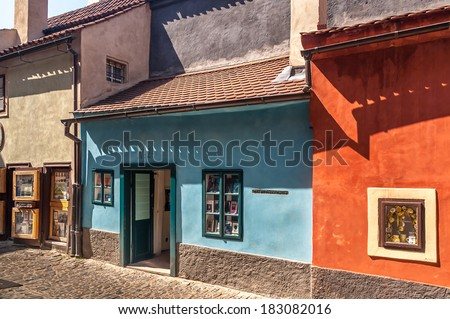 Homes along the golden lane in prague castle, where franz Kafka once lived here. Now famous an popular tourist destination. - stock photo
