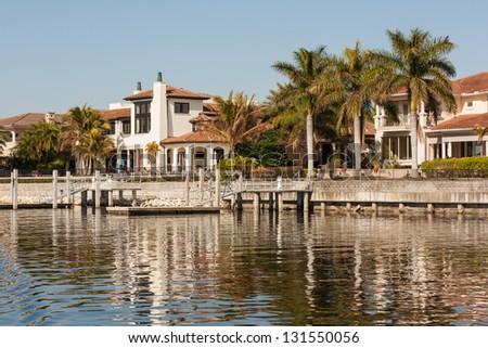 Homes Along the Hillsborough River, Tampa, Florida - stock photo