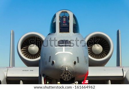 HOMESTEAD, FLORIDA NOVEMBER 3: Close up view of the American military A-10 Thunderbolt Warthog jet on display at the Wings over Homestead Airshow on November 3, 2012 in Homestead.. - stock photo