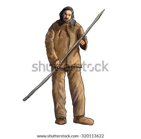 Homo sapiens, cromagnon. Human evolution illustration - stock photo
