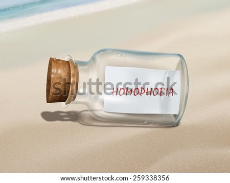 homophobia message in a bottle isolated on beautiful beach - stock photo