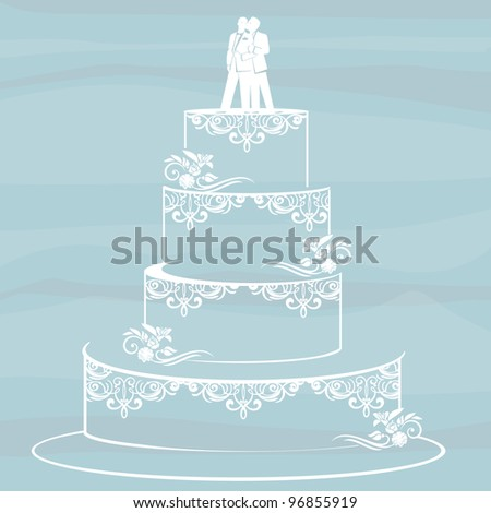 homosexual couple standing on top of a wedding cake. Gay/same sex marriage concept. - stock photo