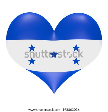 Honduran flag in 3D heart shape - stock photo