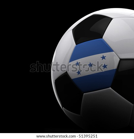 Honduran soccer ball on black background - stock photo