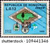 HONDURAS - CIRCA 1971: A stamp printed in Honduras shows Forest Fire Brigade emblem (with map of Honduras) and emblems of fire fighters, FAO and Alliance for Progress, circa 1971. - stock photo
