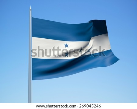Honduras 3d flag floating in the wind with a blue sky in the background