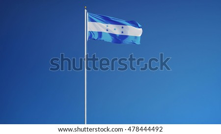 Honduras flag waving against clean blue sky, long shot, isolated with clipping path mask alpha channel transparency