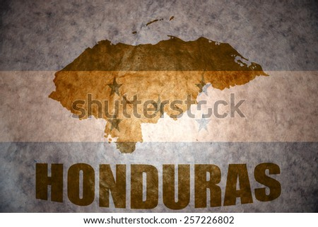 honduras map on a vintage honduran flag background