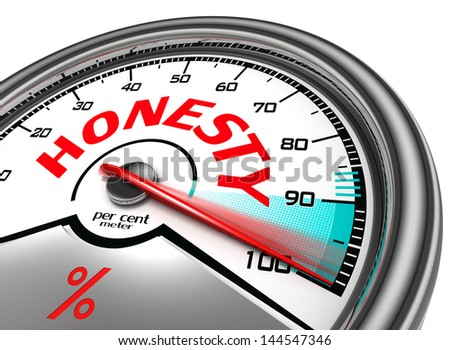 honesty per cent meter indicate hundred per cent, isolated on white background - stock photo