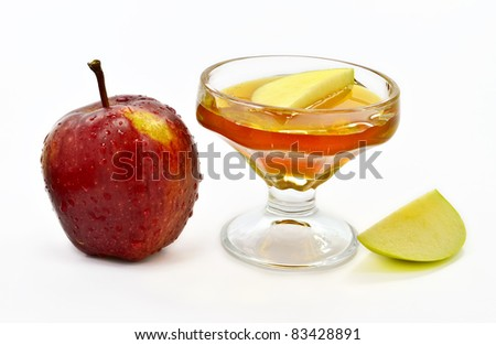 Honey and apple are symbols of Jewish New Year (Rosh hashana) - stock photo