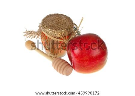 Honey and apple on white background  - stock photo