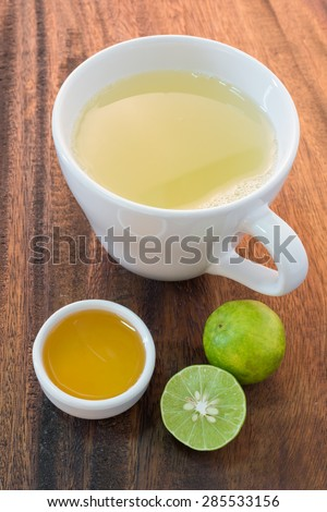honey and lemon on wooden table