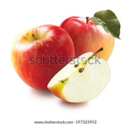 Honey crunch apples and quarter isolated on white background for package design with leaf - stock photo