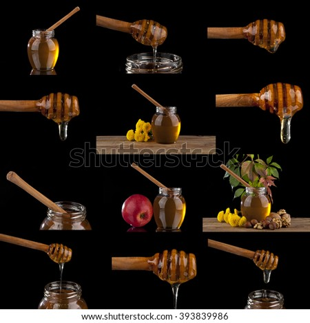 Honey dripping  on a black background - stock photo