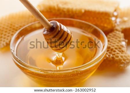 Honey, Honeycomb, Honey Bee. - stock photo