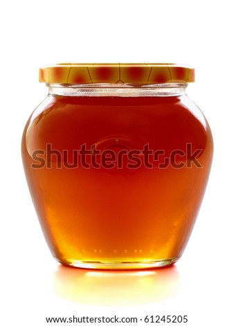 Honey jar, isolated on the white background, clipping path included. - stock photo